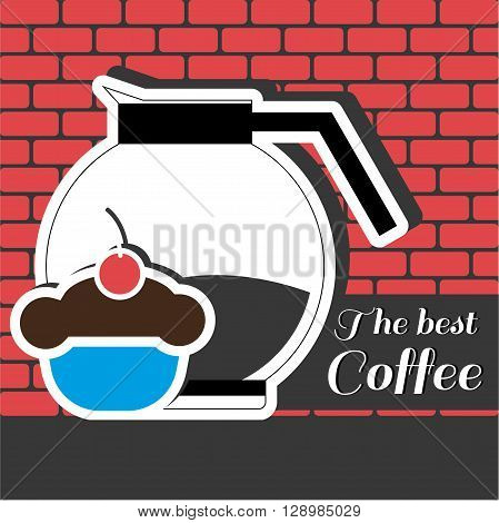 A jar of coffee with a blue cake with red cherry on top and best coffee inscription in outlines over a red background with bricks digital vector image