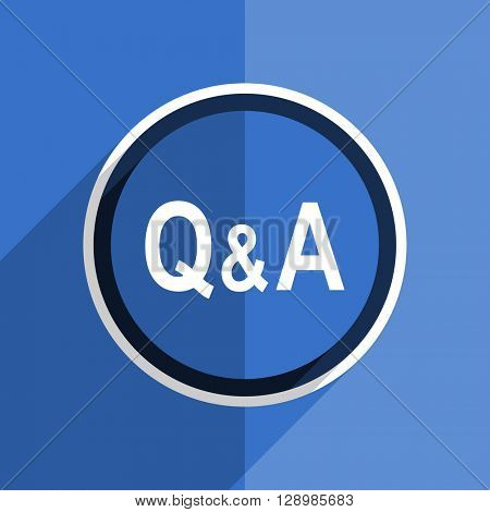 flat design blue question answer web modern icon
