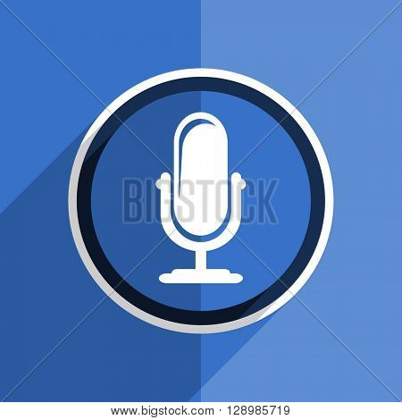 flat design blue microphone web modern icon