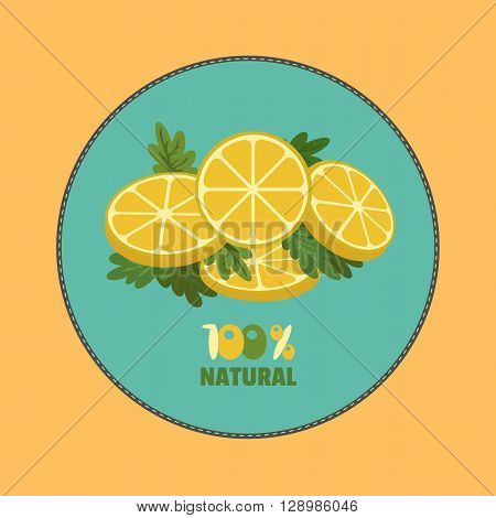 Citrus Fruits. Sliced lemon with herbs. Fresh lemon wedges Concept. Organic natural fruit. Tropical citrus. Natural fruit with vitamin for juice dessert. Vector Illustration