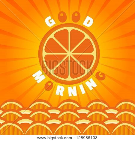 Citrus Fruits. Orange Good morning. Sliced orange sun. Citrus sea waves. Organic fruit natural good morning Concept. Tropical citrus vitamin fruit for breakfast juice dessert. Vector Illustration