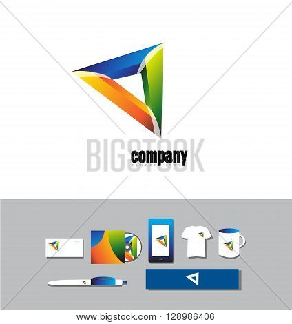 Corporate identity vector company logo icon element template business colors colored abstract sign triangle