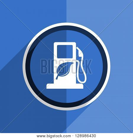 flat design blue biofuel web modern icon