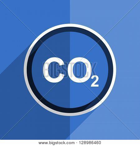 flat design blue carbon dioxide web modern icon