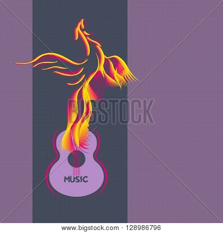 Template Design Poster with acoustic guitar bird silhouette. Idea for background of Live Music Festival music show. Musical Festivals promotion advertisement. Vector illustration.