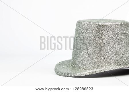 Silver Tall Hat On White Background