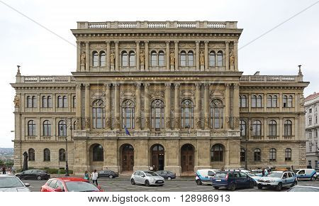 BUDAPEST HUNGARY - JULY 13: The Hungarian Academy of Sciences in Budapest on JULY 13 2015. MTA Education Academy Society Building at the Bank of the Danube River in Budapest Hungary.