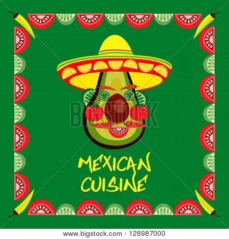 Mexican style. Mexican border Concept. Fiesta menu frame. Chili pepper tomato avocado lemon lime. Kitchen of Mexico. Cinco de Mayo cuisine. Party banner background. Vector illustration