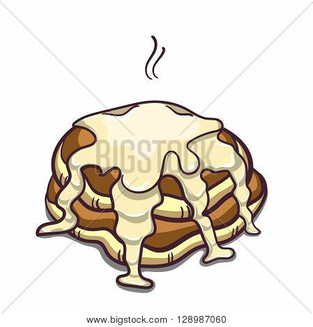 Hand drawn pancakes with condensed milk. Pancakes in cartoon style isolated on white background. Vector illustration.