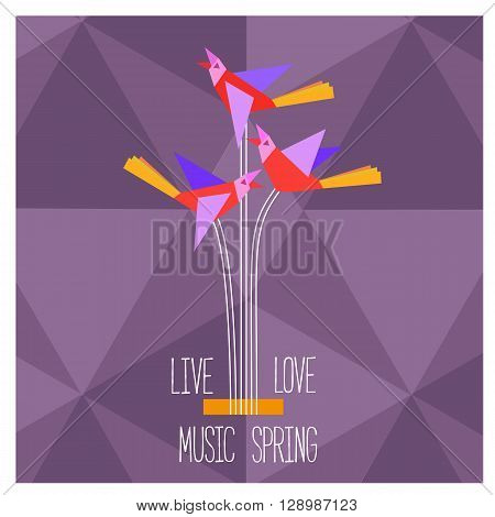 Template Design Poster with acoustic guitar silhouette clef notes. Idea for Live Music Festival music show. Musical Festivals promotion advertisement. Vector illustration.