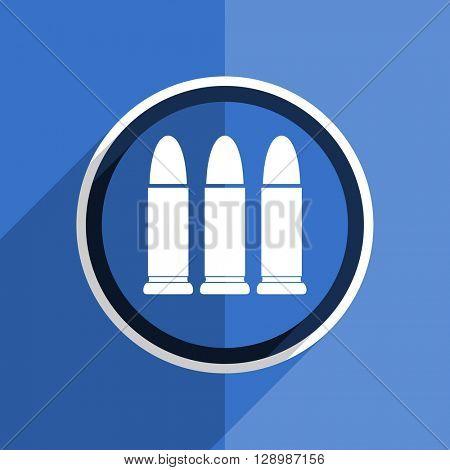 flat design blue ammunition web modern icon