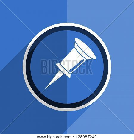 flat design blue pin web modern icon