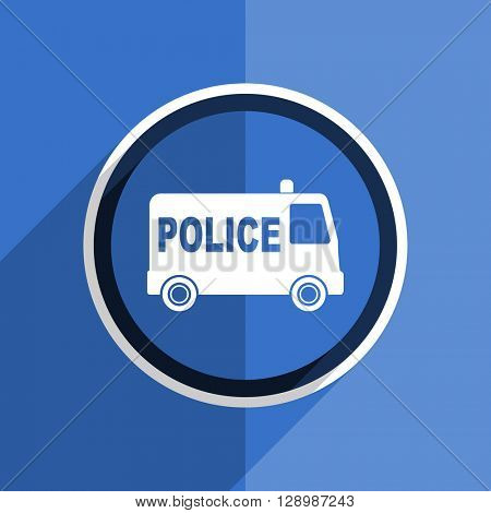 flat design blue police web modern icon