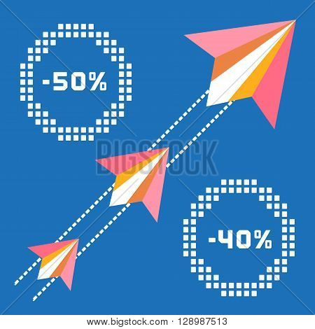Paper planes. Travel sales advertisement. Origami flying paper airplanes. Traveling sale poster discount promotion banner. Special offer for big sales season. Marketing campaign. Vector illustration