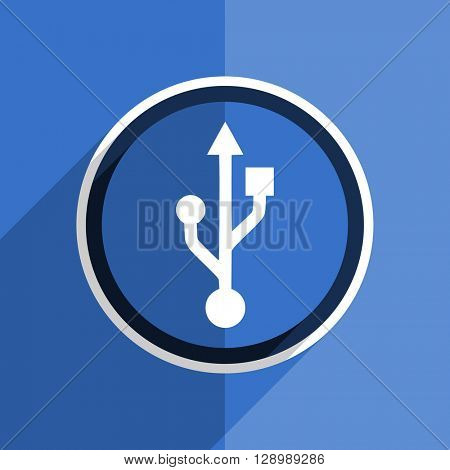 flat design blue usb web modern icon