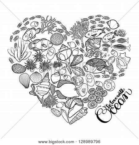 Ocean flora and fauna in the shape of heart. Fish, seashells, seaweed and corals drawn in line art style on chalkbord. Coloring book page design