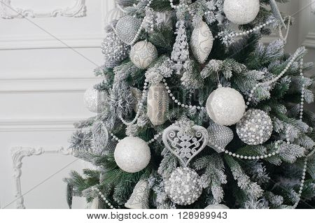 Decorated Christmas tree. Christmas and New Year decorated interior