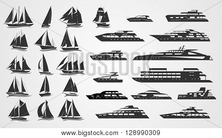 Sailing and motor yachts. Vector silhouettes on grey