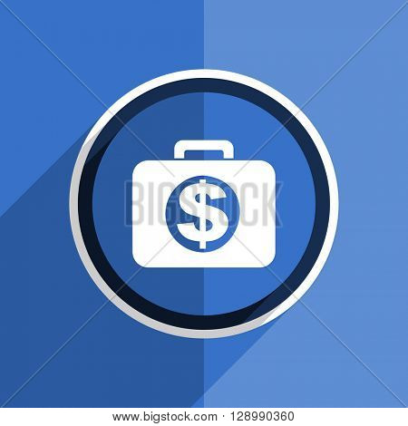 flat design blue financial web modern icon