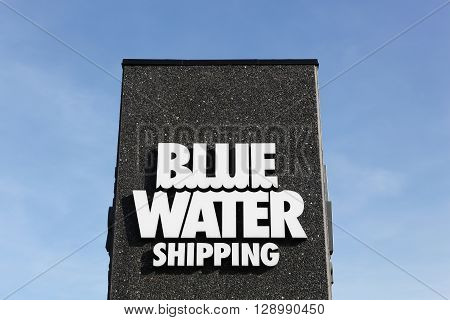Esbjerg, Denmark - May 6, 2016: Blue Water shipping logo. Blue Water Shipping is a Danish transport and logistics company headquartered in Esbjerg