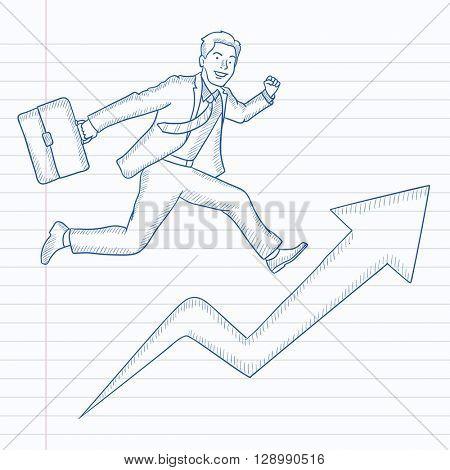 Man running on arrow going upwards.