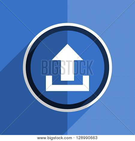 flat design blue upload web modern icon