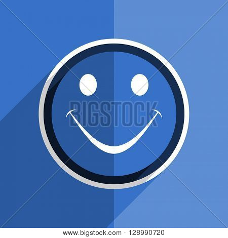 flat design blue smile web modern icon