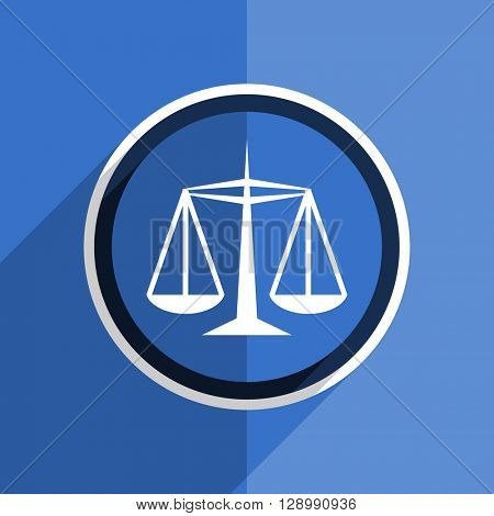 flat design blue justice web modern icon