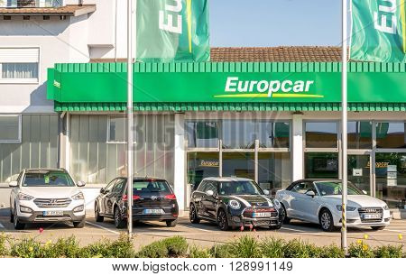 BADEN-BADEN, GERMANY  - MAY 5: Europcar is a car rental company owned by Eurazeo. Baden-Baden, May 5, 2016