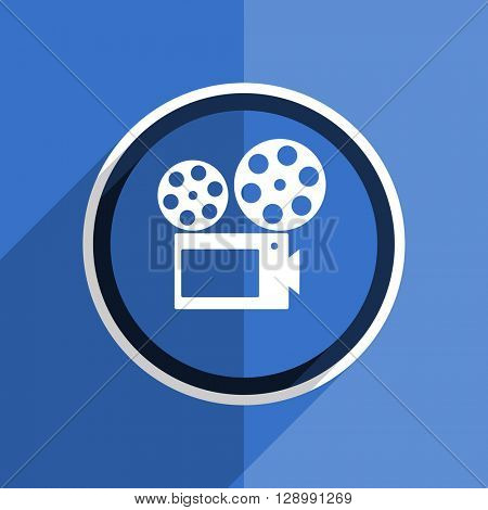 flat design blue movie web modern icon