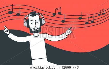 Man listening to music and dancing.