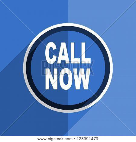 flat design blue call now web modern icon