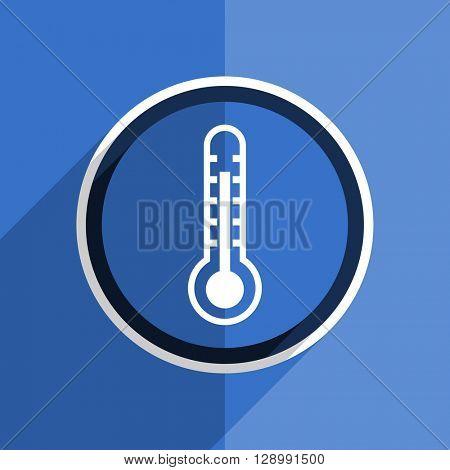 flat design blue thermometer web modern icon
