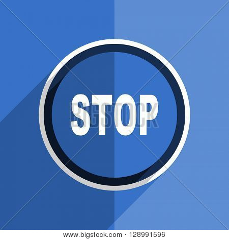 flat design blue stop web modern icon