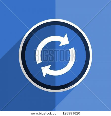 flat design blue reload web modern icon