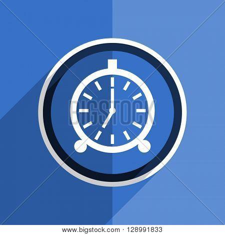 flat design blue alarm web modern icon