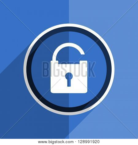 flat design blue padlock web modern icon