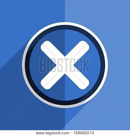 flat design blue cancel web modern icon