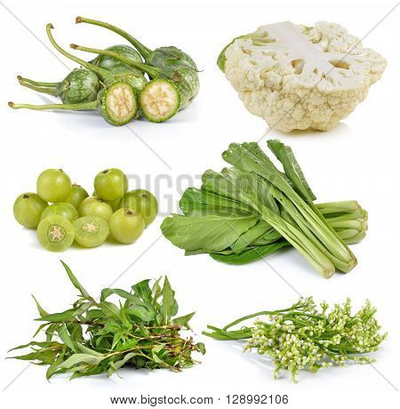 Indian gooseberries Ceylon Spinach Vietnamese mint cauliflower Chinese mustard eggplant on white background