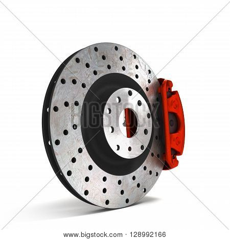 Car Disc Brake Isolated On White Background 3D Illustration
