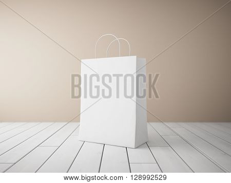 Blank shopping bags in focus. 3D illustration.