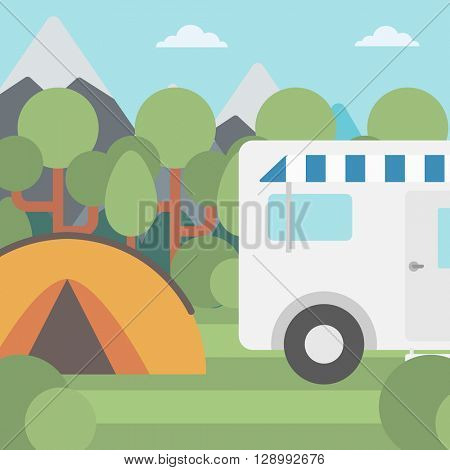 Background of motorhome and tent in the forest.