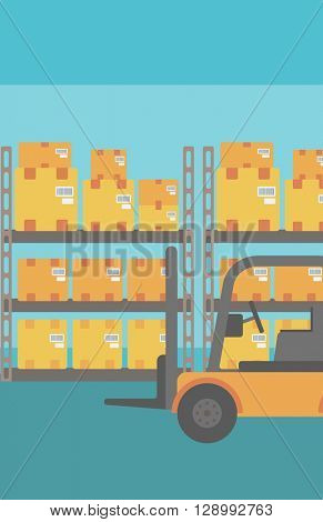 Background of forklift truck and cardboard boxes in warehouse.