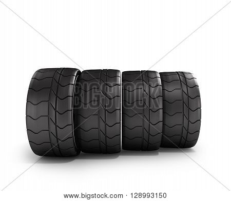 Four Tires Car Standing In A Row Isolated On White 3D Illustrations