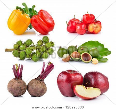 Castor oil Beetroot red apple macadamia thai cherry pepper on white background