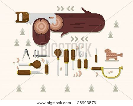 Concept woodcarving. Instrument for carving, carpentry tool, chisel and saw, flat vector illustration