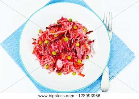 Salad of Beets and Carrots with Sauerkraut, Green Pea,  Spices Studio Photo