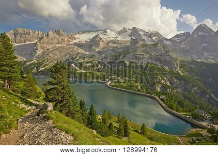 Mountain landscape with water reservoir