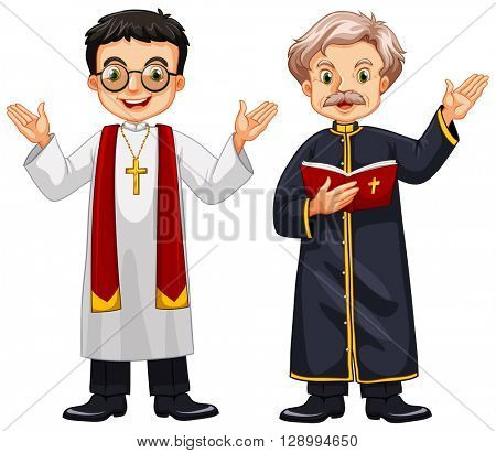 Two priests with happy face illustration