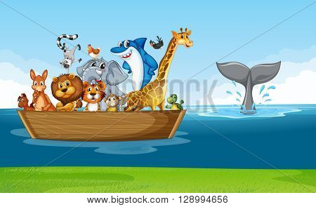 Wild animals riding on wooden boat illustration